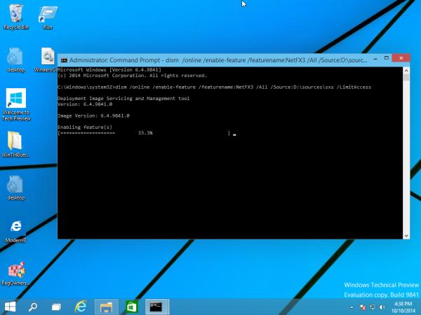 Windows 10 usando DISM