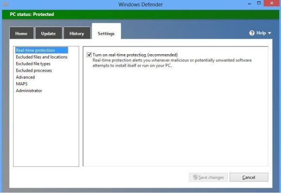 attivare Windows Defender di Windows 8
