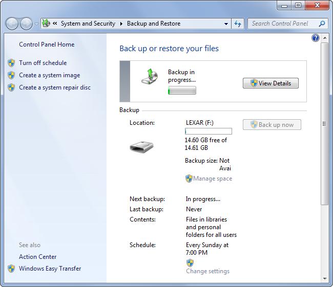 Backup e Ripristino in Windows 7