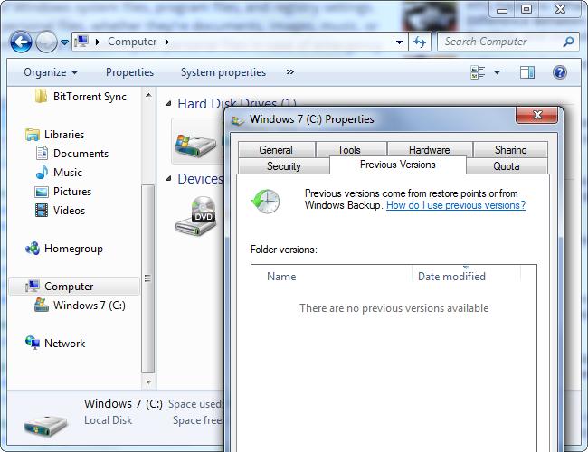 Versioni Precedenti in Windows 7