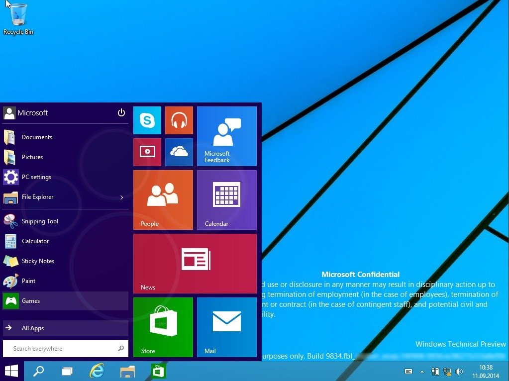 Windows Threshold build 9834