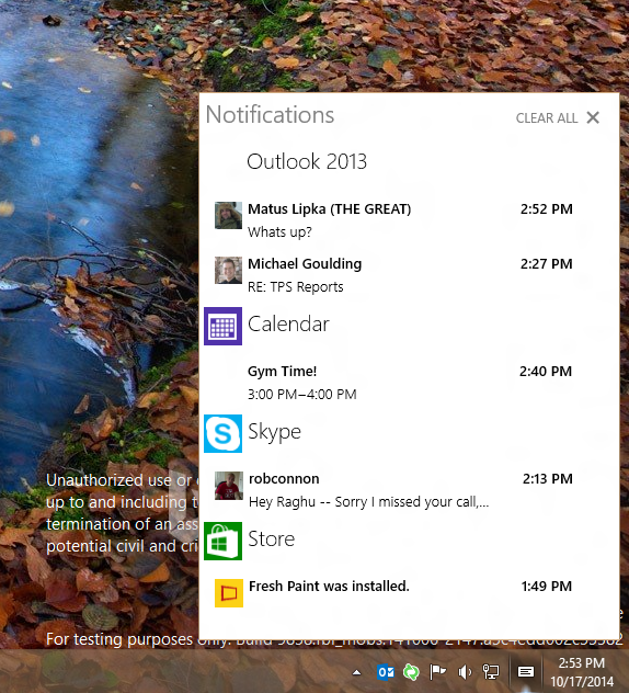 Windows 10 con il Centro notifiche