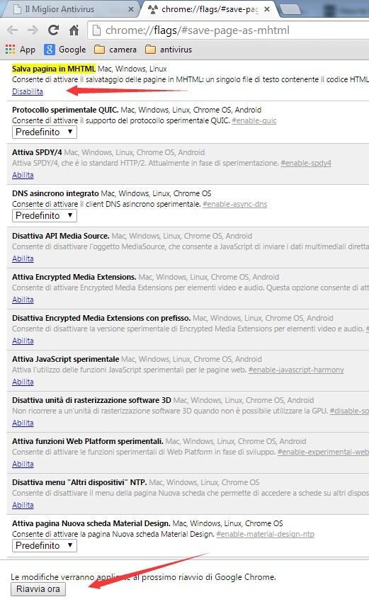 """l'opzione """"Salva come MHTML"""" in Google Chrome"""