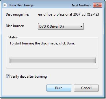 Masterizza immagine disco