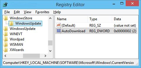 disattivare il download automatico e l'installazione di aggiornamenti dall'App Store in Windows 8