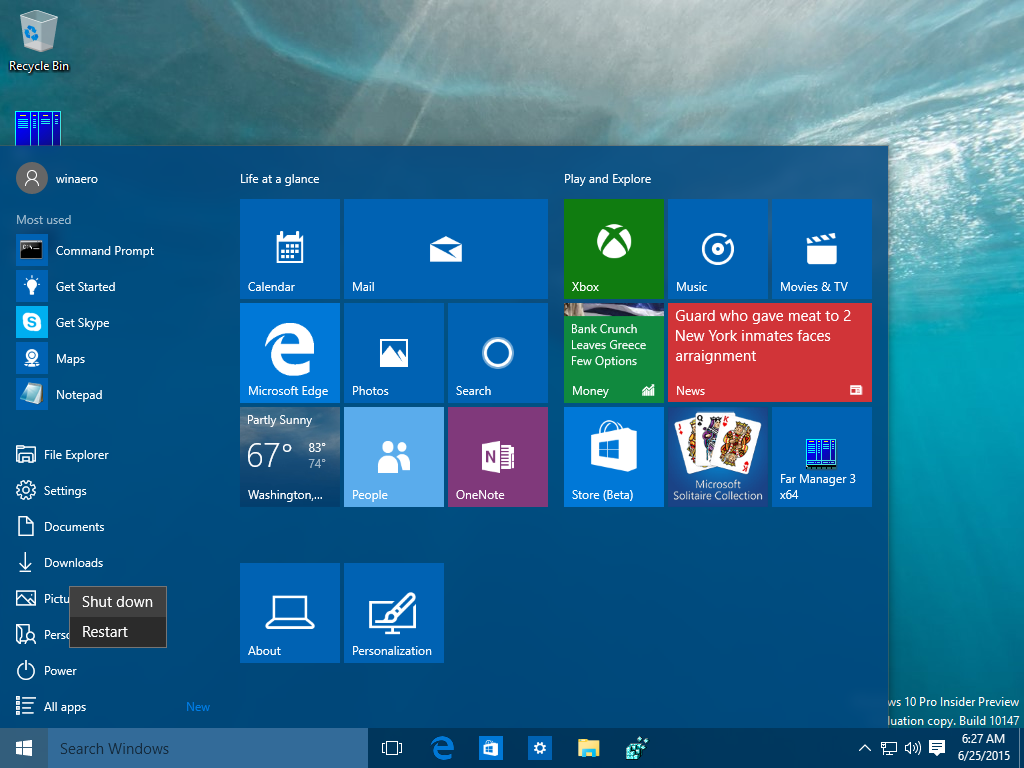 Spegnere Windows 10