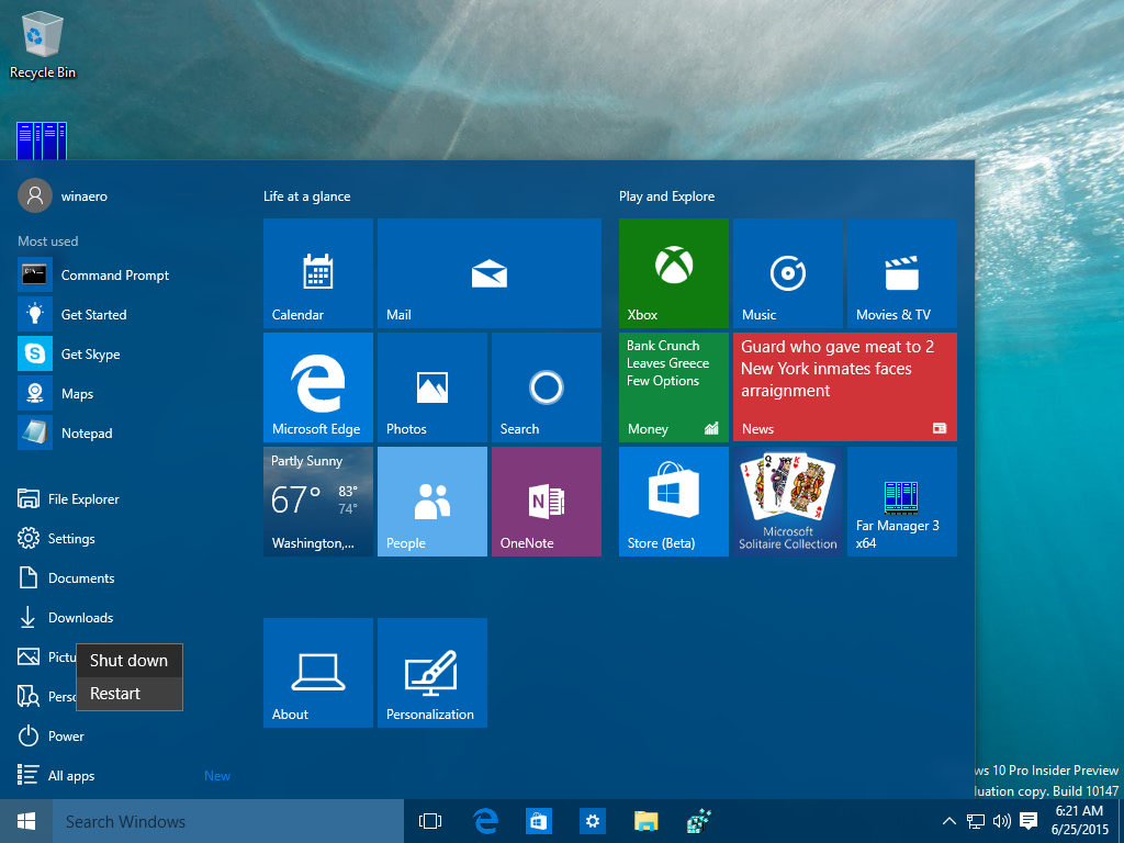 Riavviare Windows 10