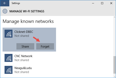 Eliminare una rete wifi a windows 10