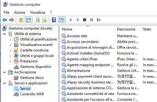 Servizi di Windows 10