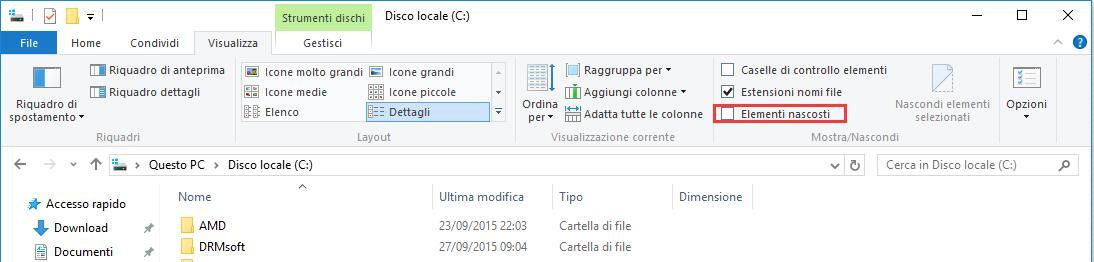 i file nascosti in Windows 10