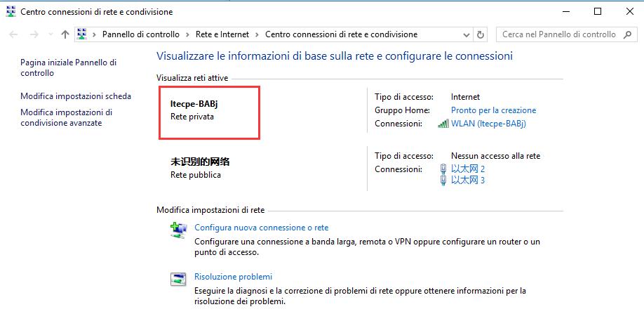 Rete di Windows 10