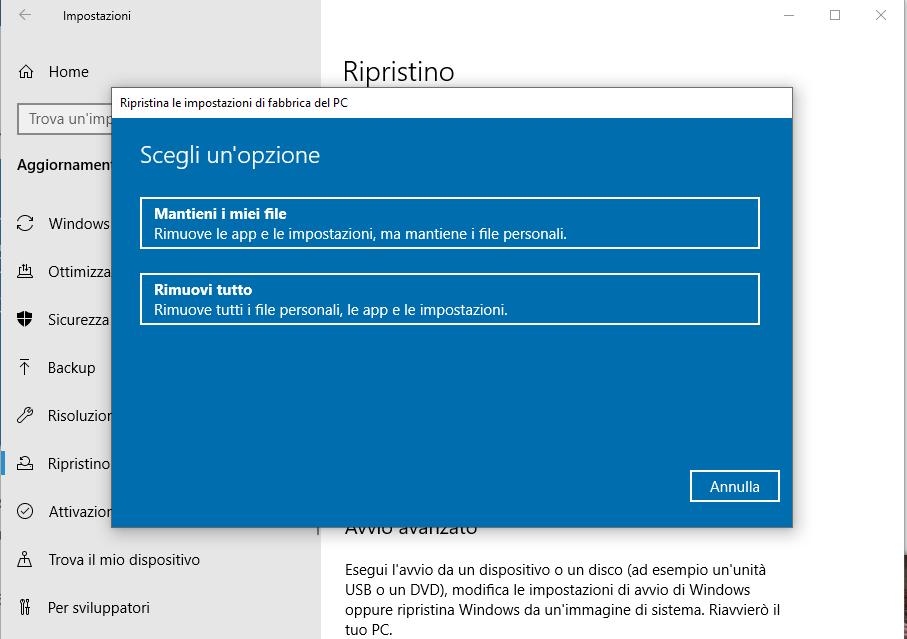 Come riportare Windows 10