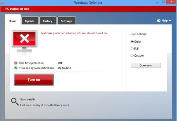 attivare Windows Defender di Windows 8