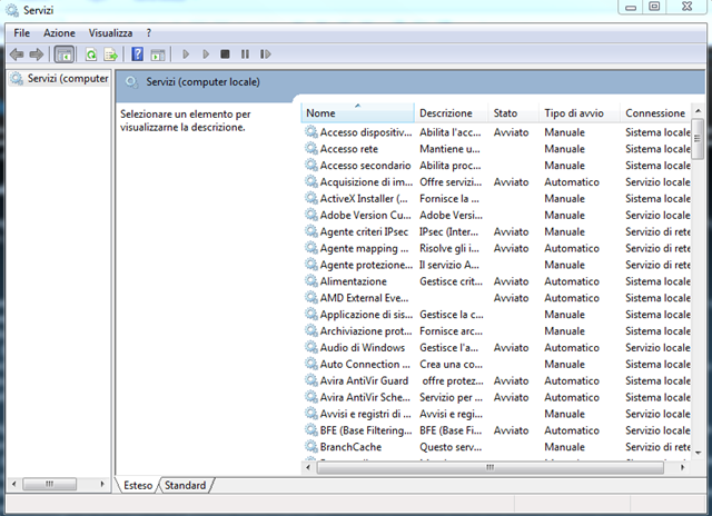 Windows 7 Servizi