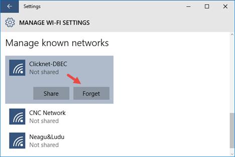 Eliminare una rete wifi  a windows 10