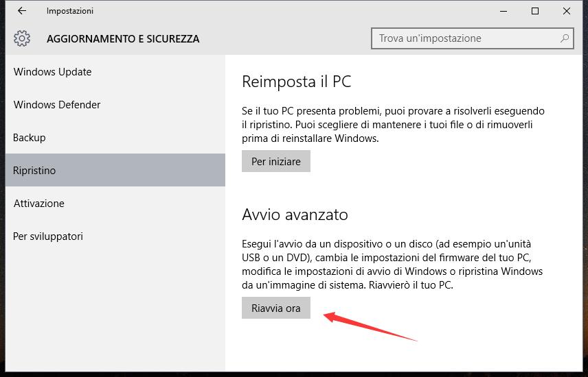 Settaggi UEFI del Firmware