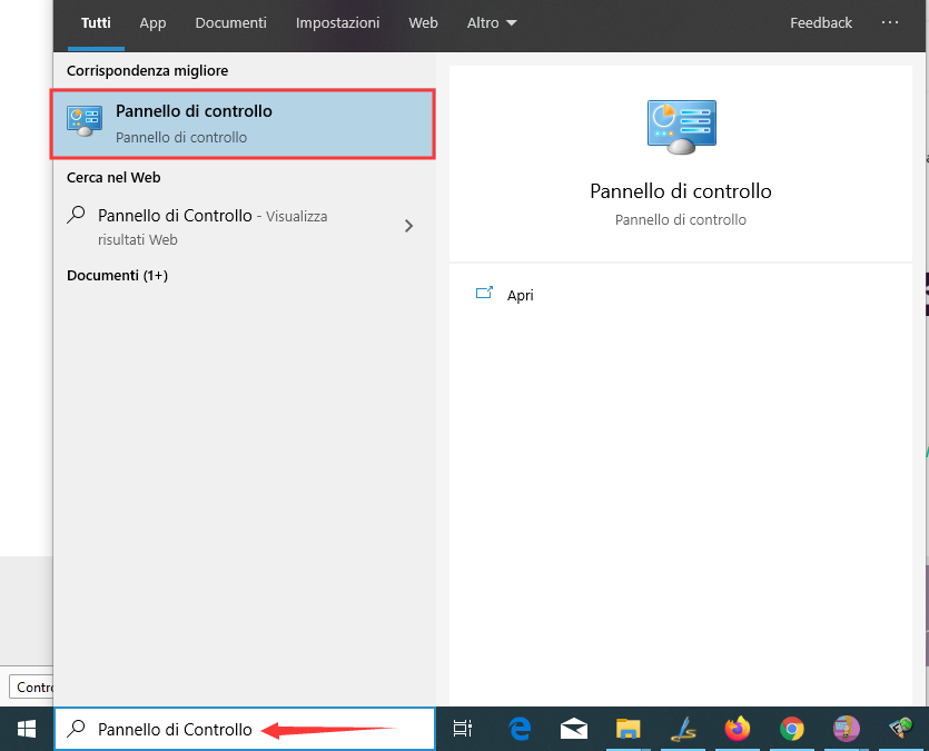 Pannello di Controllo in Windows 10
