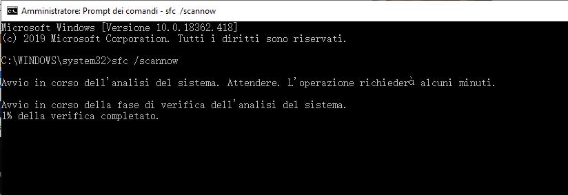 riparare file di sistema Windows 10