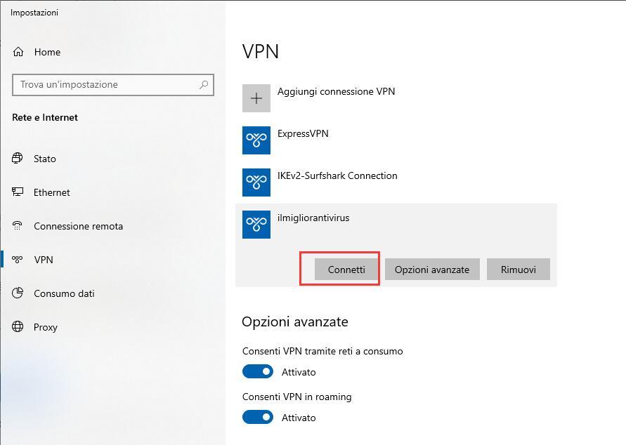 Configurare una VPN su Windows 10